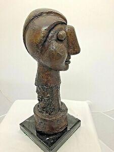 PICASSO-STYLE-BRONZE-HEAD-OF-A-WOMAN-CAST-BRONZE-METAL-SCULPTURE-Bust