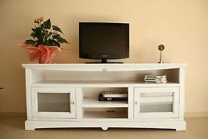 Porta tv 2 porte vetro legno massello mobile tv salotto soggiorno ebay