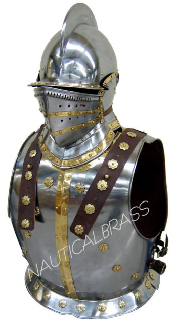 MEDIEVAL KNIGHT BREASTPLATE ARMOR WITH BERGONET HELMET HALLOWEEN COSTUME
