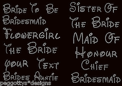 Iron on hen personalise wedding rhinestone transfer diamante crystal bride maid