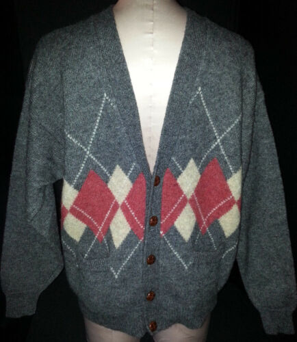 COLOMBO Mens Button Front Diamond Squares Sweater