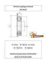 10x Bund Kugellager MF 106 ZZ 6x10x3 mm Flange Bearing Flansch Kugellager