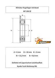 ** NEU ** **  10x Miniaturlager mit Bund MF106-ZZ ........ 6x10x3 mm ........