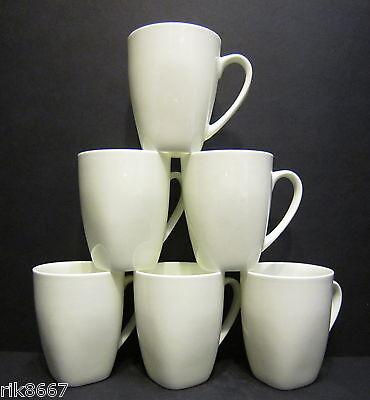 Set Of 6 White Oxford Shape Fine Bone China Mug cups Beakers