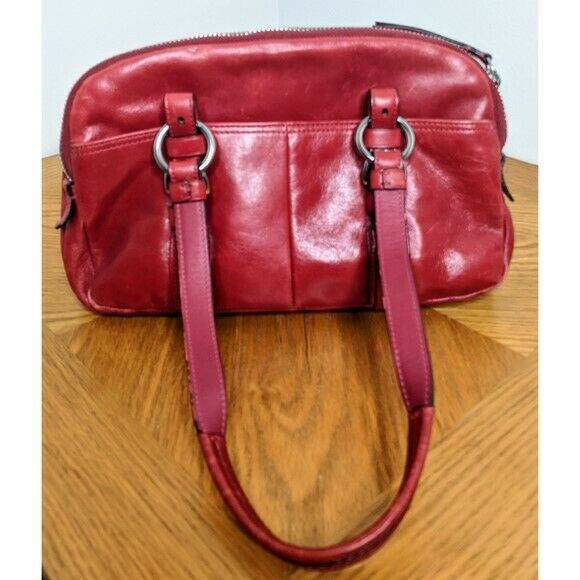 Coach Red Leather Bonnie Satchel Preowned - image 2