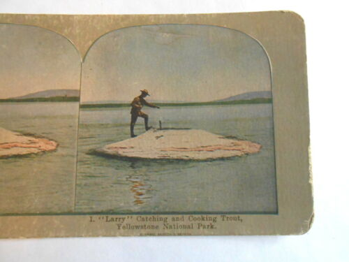 Antique Griffith & Griffith Catching Trout in Yellowstone Park Stereoview Card