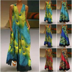 Women-Sleeveless-Peacock-Long-Maxi-Dress-Bohemia-Summer-Beach-Shirt-Dress