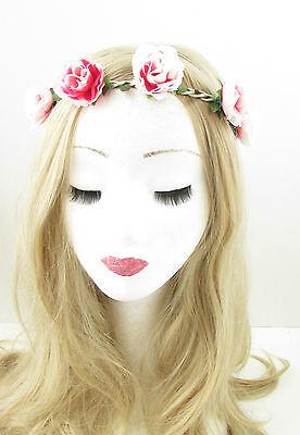 Groß Gelb Hot Pink Lila Haarreif Mit Rosa Blume Haar-krone Girlande Boho 9AX