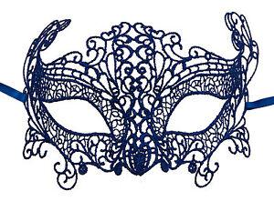 Maschera Di Venezia Lupo Zibetto Carnevale Veneziana IN Pizzo Di Burano Blu 606