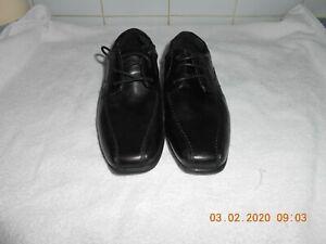 KIDS Black Leather School Shoes LACE UP