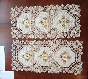 "6 PCS 10"" Square Crochet Lace Doily COLOR Beige 100 % COTTON"