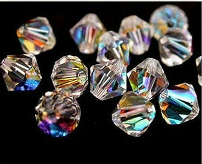 Free TOP 200pcs Jewelry Making 5301 COLOR Clear AB CRYSTALS SPACER BEADS 4MM