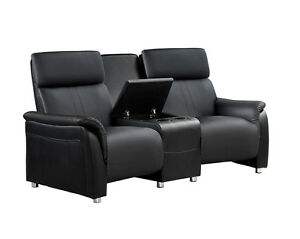 heimkino 2 sitzer sofa mit tisch schwarz kinosofa. Black Bedroom Furniture Sets. Home Design Ideas