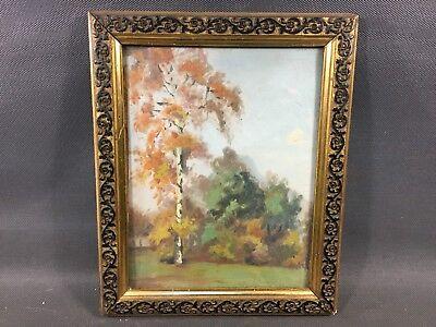 Ancien tableau peinture huile sur panneau dans cadre bois et platre vintage   eBay