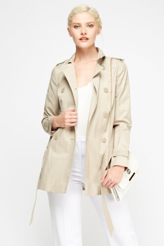 Womens Beige Double Breasted Mac Coat Tie up Lapel Pocket New Jacket Size M 10
