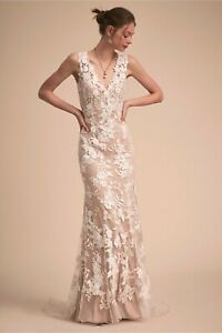 BHLDN-Wedding-Dress-Liesel-Gown-Lace-Beach-Nude-Ivory-Used-Pre-Owned-Size-4