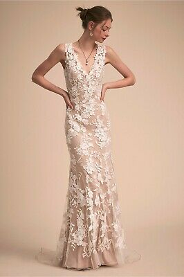 Bhldn Wedding Dress Liesel Gown Lace Beach Nude Ivory Used Pre