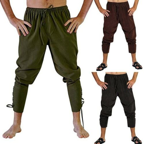 Men/'s Medieval Ankle Lace Up Banded Pants Vikings Voyagers Renaissance Trousers