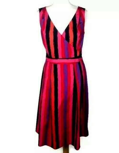 LK Bennett Pure Cotton Striped Pink Dress Size Wedding Occasion Holiday