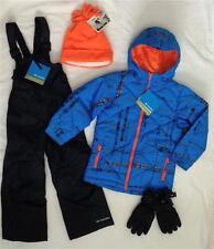 New COLUMBIA Boys 6/7 Winter Jacket, Ski/Snow Bib Pants,Gloves,Hat Set Blue $200