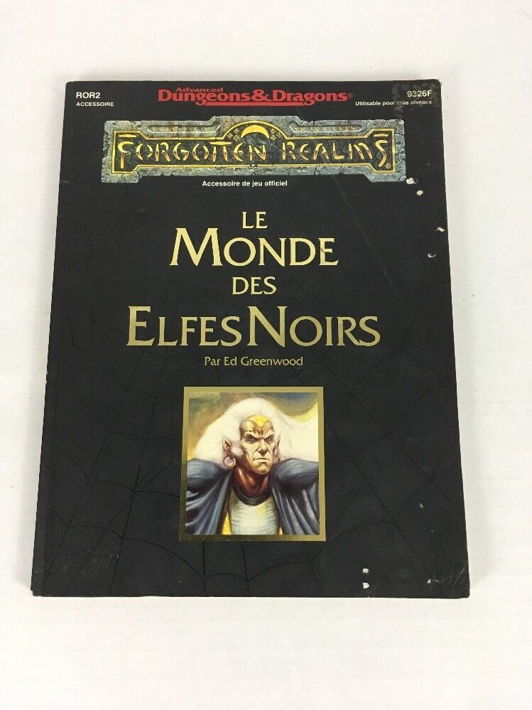 AD&D Forgetten Realms Le Monde Des Elfes blacks Ror2 9326F