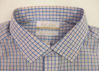 Roundtree & Yorke Gold Label Non Iron Plaid Dress Shirt Blue Orange White 75