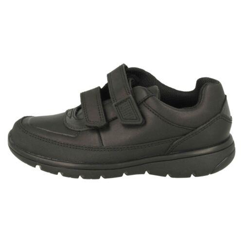 Boys Black Hook /& Loops Clarks School Formal Shoes Venture Walk