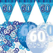 Blue Silver Glitz 60th Birthday Flag Banner Party Decoration Pack Kit Set