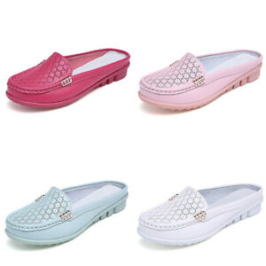 Womens-Flat-Casual-Leather-Mules-Slippers-Loafers-Slip-On-Ladies-Comfy-Shoes