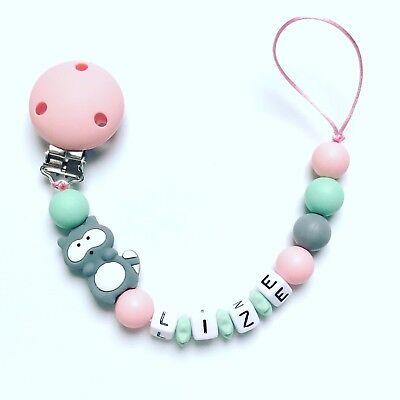 Schnullerkette mit Namen Waschbär Kleine Schwester Baby Mädchen rosa Holz