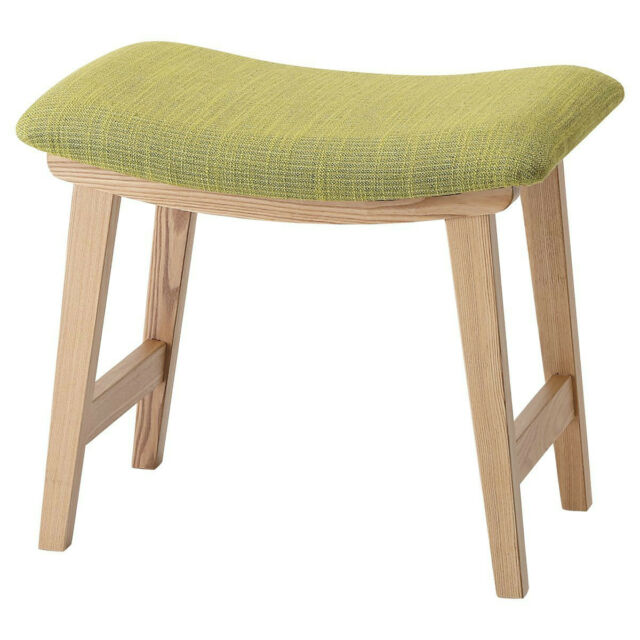 Wood Stool Green Seat Vanity Wooden Low Chair Cushioned CL 790CGR Azumaya  Japan