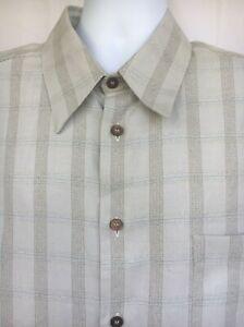 Ermenegildo-Zegna-Men-Gray-Dull-Olive-Plaid-Long-Sleeve-Shirt-XXL-Made-In-Italy