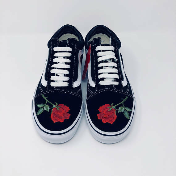 Old Skool ROT Rose Front Only Embroidery Vans Custom Trainers EmbroideROT