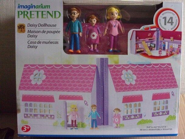 Imaginarium Pretend Wooden Daisy Doll House w  Mom Dad Daughter &  Accessories