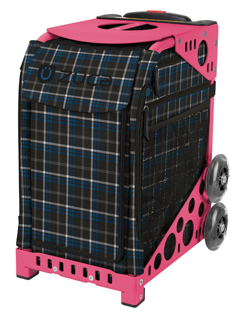 ZUCA Bag  IMPERIAL PLAID Insert & Pink Frame w Flashing Wheels - FREE CUSHION  promotions