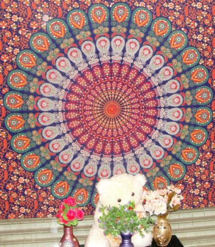 Indian Twin Mandala Blue Tapestry Multi Purpose Cotton Decorative Wall Hanging
