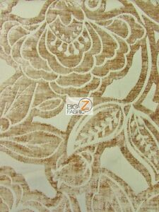 Image Is Loading FLORAL KINGDOM CHENILLE UPHOLSTERY FABRIC Linen BY YARD