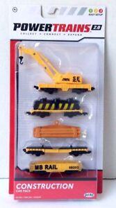 Power Trains 2.0* CONSTRUCTION Car Pack 4 Train Cars + 1 Crane Jakks NEW