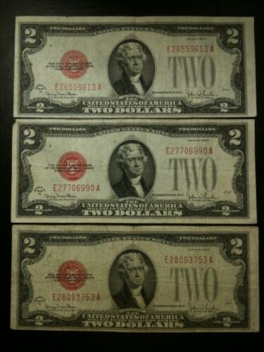 1928-1963 Two Dollar Note Red Seal $2 Bill F-AU 1928 Small Size Paper Currency