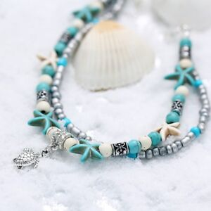Two Layered Turquoise Ankle Anklets Conch Starfish Bead Beach Turtle Bracelets Ebay
