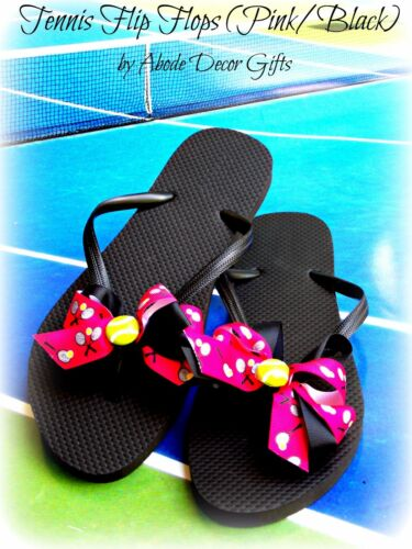 Tennis Flip Flops Tennis Ball Flip Flops PINK and Black
