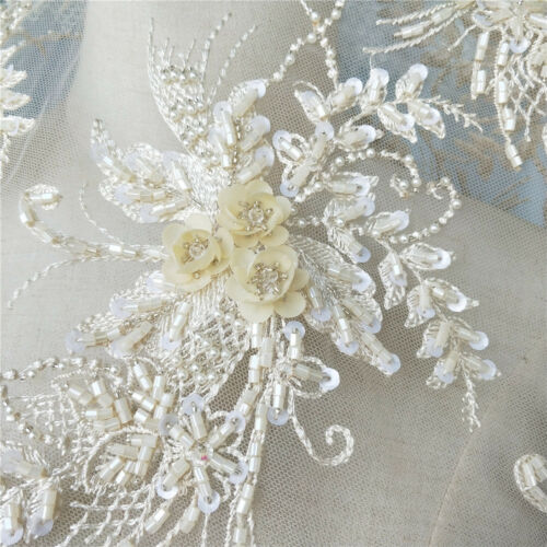 4pcs Champagne 3D Beaded Pearl Bridal Lace Applique Embroidery Patches