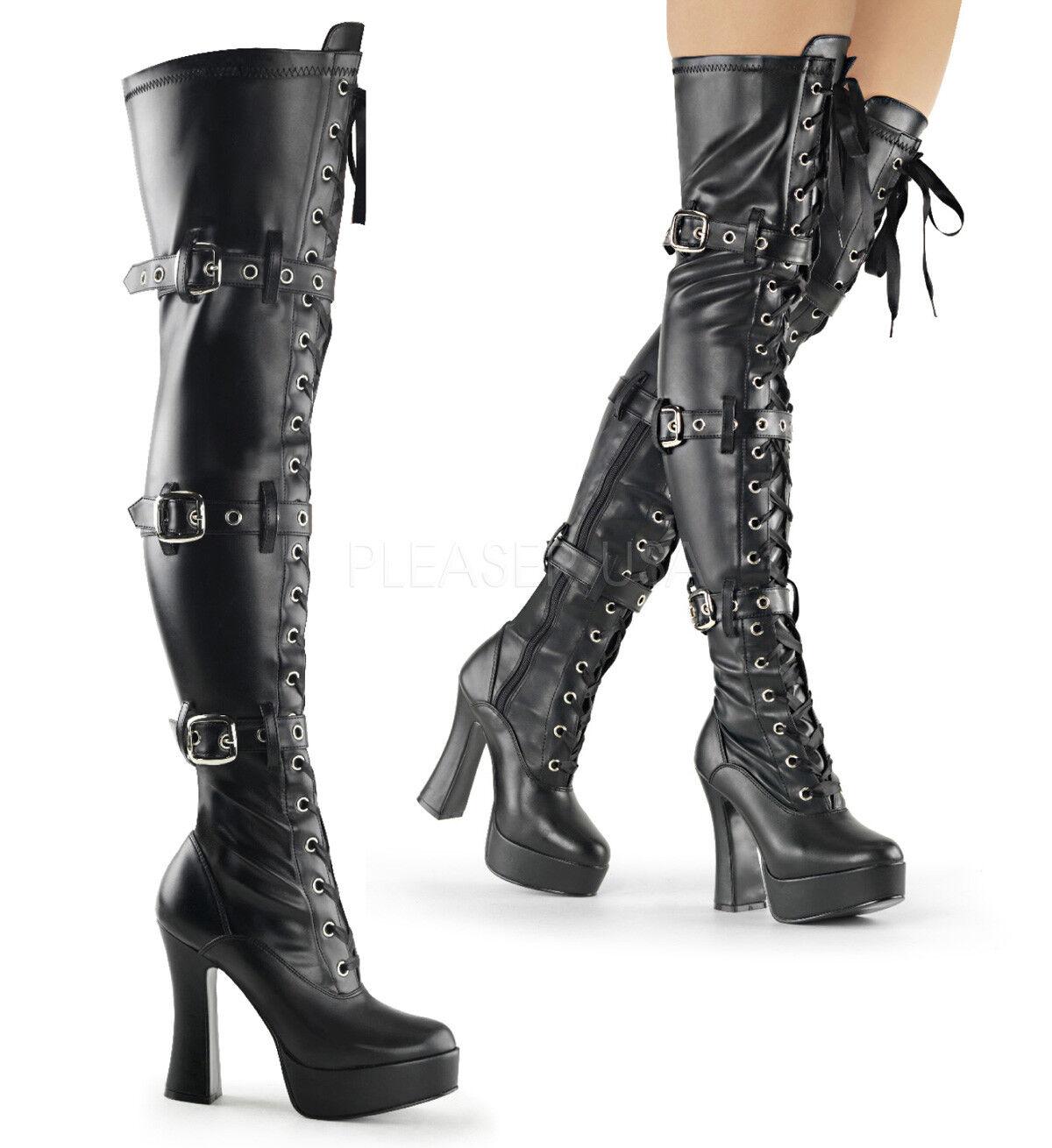 Pleaser ELECTRA-3028 Women's Black Faux Leather Matte Heels Platform Thigh Boots