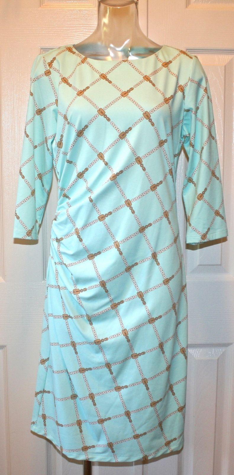 J McLaughlin    Sage  3 4 Sleeve Dress, Chain Print, Aqua Tan White  M,L,XL NWT ab3865