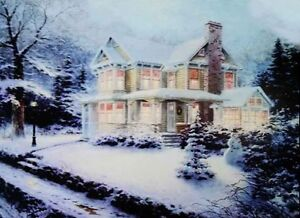 Christmas Led Canvas.Details About Christmas Led Canvas Illuminated House In Snow Canvas Picture 40 X 30cm