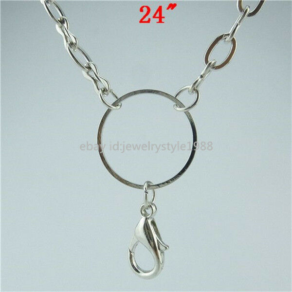 """24"""" Silver Tone Chain Necklace For Floating Living Memory Lockets Pendant"""