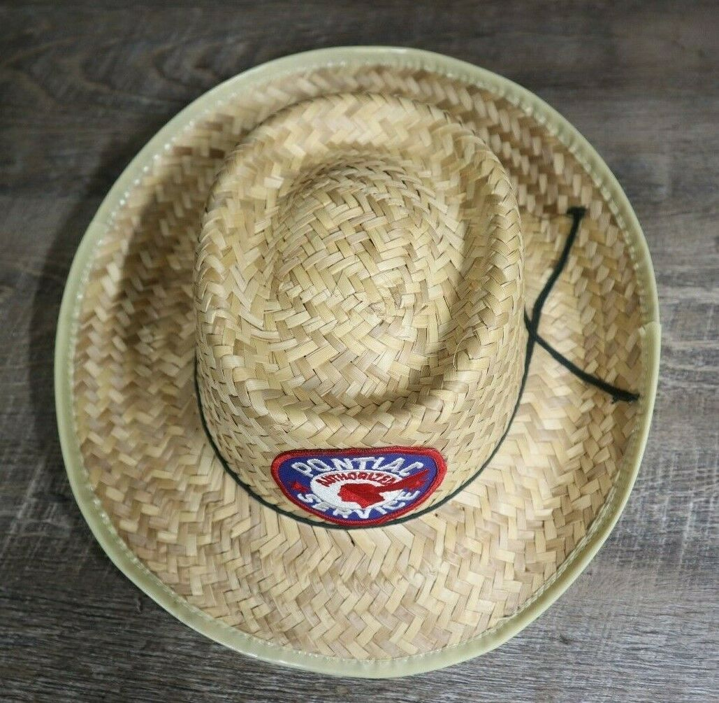 Vintage Pontiac Service Patch Straw Hat Cap Rare … - image 2