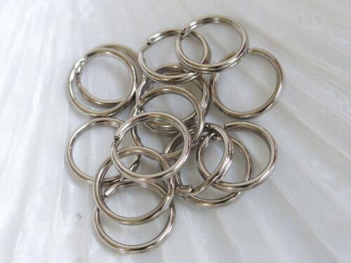 FFC5100 50 x 15mm Metal Split Key Rings Silver Keyrings Hoop Loop UK Seller