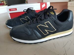 Dettagli su Scarpe New Balance nere N 38 tipo pelle e logo oro