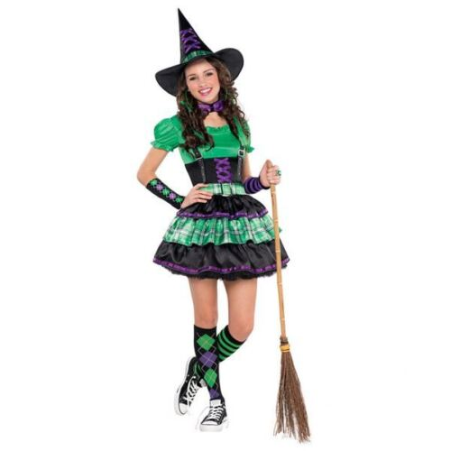 Girls Teen Wicked Cool Witch Halloween Costume Fancy Dress Outfit